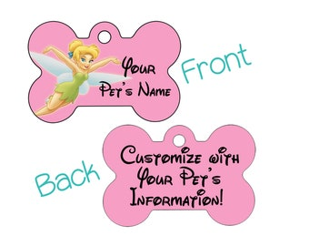 Disney Tinkerbell Double Sided Pet Id Dog Tag Personalized for Your Pet