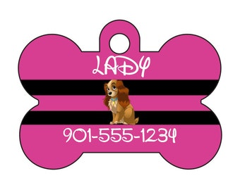 Disney Lady and The Tramp Pet Id Dog Tag Personalized w/ Name & Number