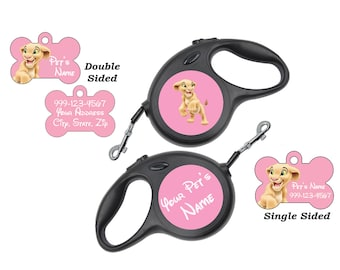 Disney Nala Pet Id Dog Tags & Retractable Leash Personalized for Your Pet