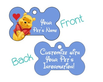 Disney Winnie the Pooh Double Sided Pet Id Dog Tag Personalized for your Pet