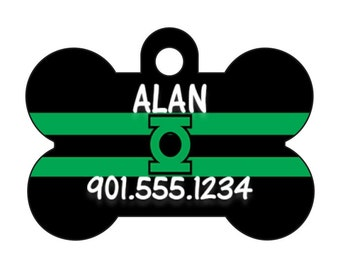 Green Lantern Custom Pet Id Dog Tag Personalized w/ Name & Number