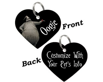 Disney Oogie Boogie Double Sided Heart Pet Id Tag for Dogs & Cats Personalized for Your Pet