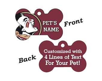 Florida State Seminoles Double Sided Pet Id Tag for Dogs and Cats Personalized w/ 4 Lines of Text