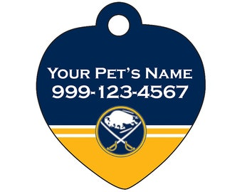 Buffalo Sabres Pet Id Tag for Dogs & Cats | Personalized for Your Pet | Fits all Dogs and Cats!