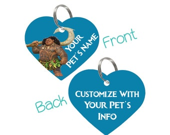 Disney Moana Maui Double Sided Pet Id Tag for Dogs & Cats Personalized for Your Pet