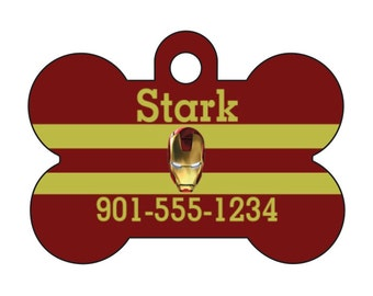 Iron Man Pet Id Dog Tag Personalized w/ Your Pets Name and Number