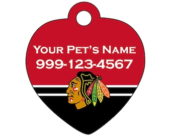 Chicago Blackhawks Pet Id Tag for Dogs & Cats | Personalized for Your Pet | Fits all Dogs and Cats!
