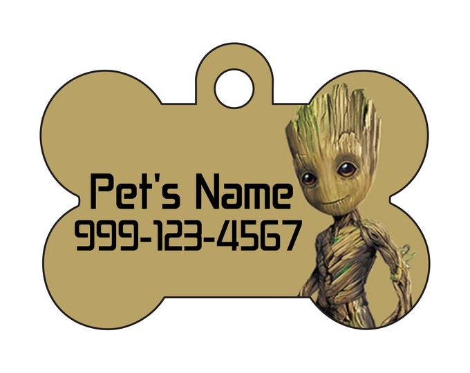 Featured listing image: Baby Groot | Disney Guardians of the Galaxy Pet Id Dog Tag | Personalized w/ Your Pet's Name and Number