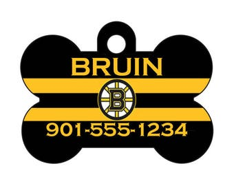 Boston Bruins Pet Id Tag for Dogs and Cats Personalized w/ Your Pet's Name & Number
