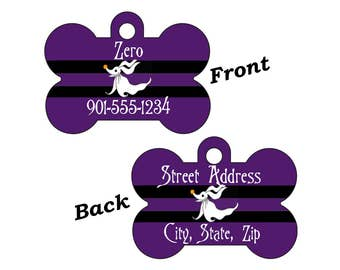 Disney Zero Nightmare Before Christmas Custom Double Sided Pet Id Dog Tag Personalized w/ 4 Lines of Text