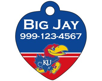 Kansas Jayhawks Custom Pet Id Tag for Dogs and Cats Personalized w/ Name & Number