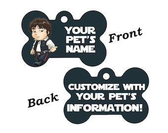 Disney Star Wars Han Solo Double Sided Pet Id Dog Tag Personalized for your Pet