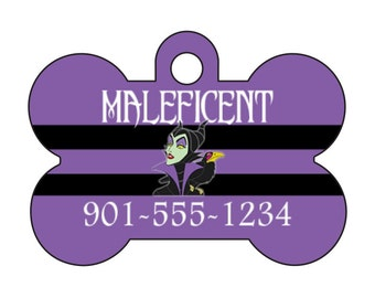 Disney Maleficent Pet Id Dog Tag Personalized w/ Your Pet's Name & Number