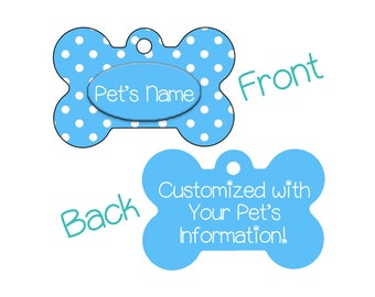 Stylish Cute Blue Polka Dots Double Sided Pet Id Dog Tag Personalized w/ 4 Lines of Text