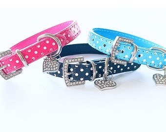 Cute Polka Dot Leather Pet Collar for Dogs & Cats, Available w/ Matching Pet Tags!