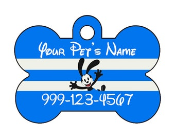 Disney Oswald the Lucky Rabbit Pet Id Dog Tag Personalized w/ Your Pet's Name & Number