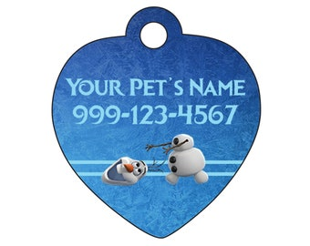 Disney Frozen Olaf Pet Id Tag for Dogs and Cats Personalized w/ Name & Number