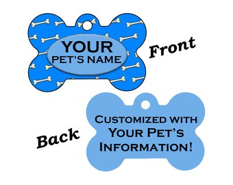 Custom Dog Bones Double Sided Pet Id Dog Tag Personalized for your Pet