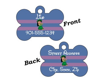 Disney Lilo & Stitch Custom Double Sided Pet Id Dog Tag Personalized for your Pet