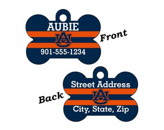 Auburn Tigers Double Sided Pet Id Tag for Dogs and Cats Personalized w/ 4 Lines of Text