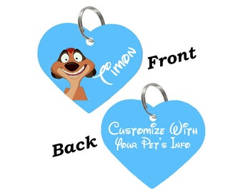 Disney Lion King Timon Double Sided Pet Id Tag for Dogs & Cats Personalized for Your Pet