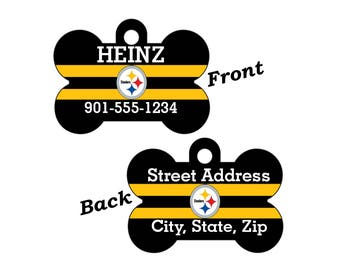 Pittsburgh Steelers Double Sided Pet Id Tag for Dogs and Cats Personalized w/ 4 Lines of Text