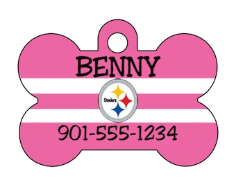 Pittsburgh Steelers Pink Pet Id Dog Tag Personalized w/ Your Pet's Name and Number
