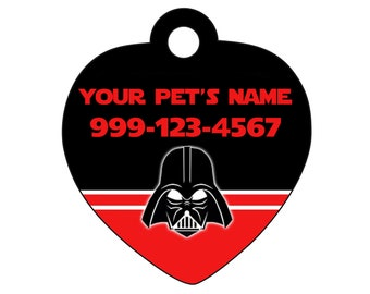 Disney Darth Vader Star Wars Pet Id Tag for Dogs and Cats Personalized w/ Name & Number