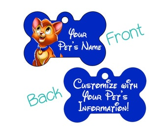 Disney Oliver & Co. Double Sided Pet Id Dog Tag Personalized w/ 4 Lines of Text