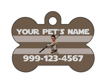 Disney Star Wars Rey Pet Id Dog Tag Personalized w/ Your Pet's Name & Number