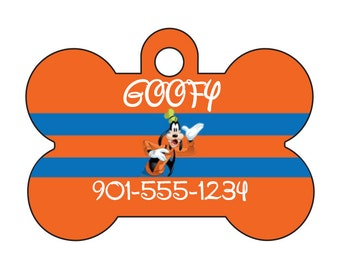 Disney Goofy Pet Id Tag for Dogs & Cats Personalized w/ Your Pet's Name and Number