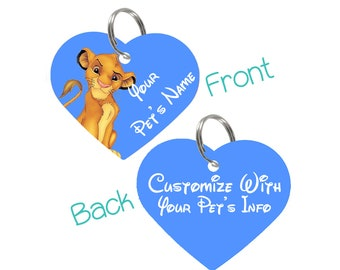 Disney Simba Double Sided Pet Id Tag for Dogs & Cats Personalized for Your Pet