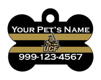 UCF Knights Custom Pet Id Dog Tag Personalized w/ Your Pet's Name and Number