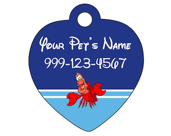 Disney Sebastian Pet Id Tag for Dogs and Cats Personalized w/ Your Pet's Name & Number