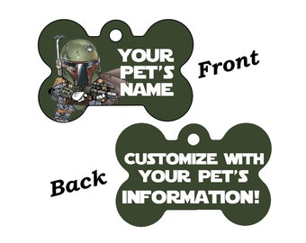 Disney Star Wars Boba Fett Double Sided Pet Id Dog Tag Personalized for your Pet