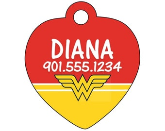 Wonder Woman Pet Id Tag for Dogs and Cats Personalized w/ Your Pet's Name & Number