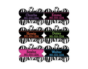 Animal Print Dog Tag Pet Id Tag Personalized w/ Your Pet's Name & Number, Zebra Print