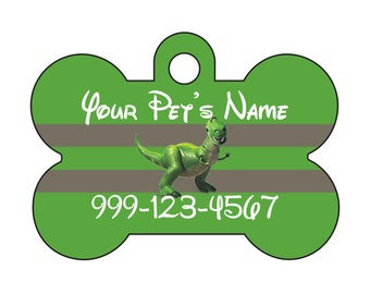 Disney Rex Toy Story Pet Id Dog Tag Personalized w/ Your Pet's Name & Number
