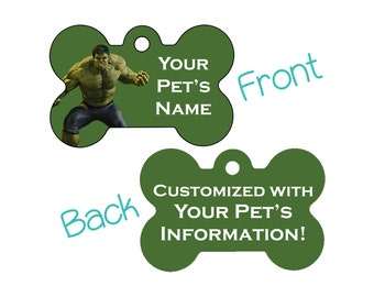 The Hulk Double Sided Pet Id Dog Tag Personalized for your Pet