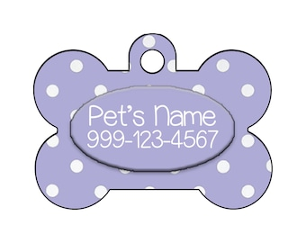 Stylish Cute Polka Dots Lavender Pet Id Dog Tag Personalized for Your Pet