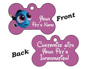 Disney Baby Dory Double Sided Pet Id Dog Tag Personalized w/ 4 Lines of Text