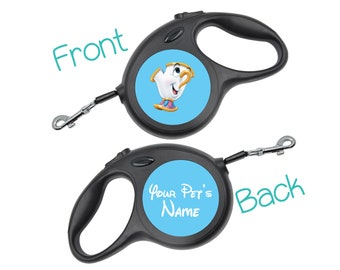 Disney Chip   Beauty and the Beast   Retractable Dog Walking Leash Personalized for Your Pet
