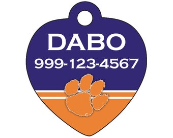 Clemson Tigers Custom Pet Id Tag for Dogs and Cats Personalized w/ Name & Number
