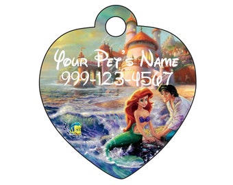 Disney Little Mermaid Pet Id Tag for Dogs and Cats Personalized w/ Name & Number
