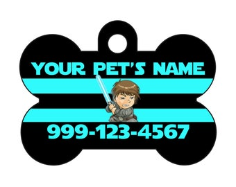 Disney Star Wars Luke Skywalker Pet Id Dog Tag Personalized w/ Your Pet's Name & Number