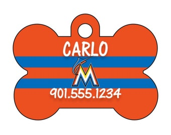 Miami Marlins Personalized Dog Tag Pet Id Tag w/ Your Pet's Name and Number