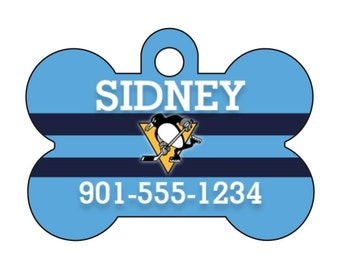 Pittsburgh Penguins Custom Pet Id Dog Tag Personalized w/ Your Pet's Name and Number