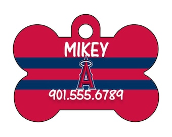 Los Angeles Angels Personalized Dog Tag Pet Id Tag w/ Your Pet's Name and Number