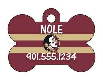 Florida State Seminoles Personalized Dog Tag Pet Id Tag w/ Your Pet's Name and Number