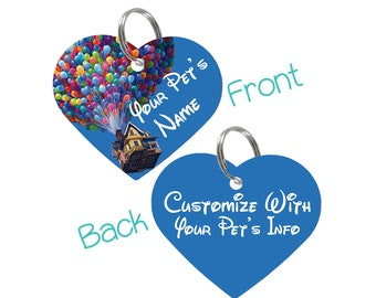 Disney Up House Balloons Double Sided Pet Id Tag for Dogs & Cats Personalized for Your Pet